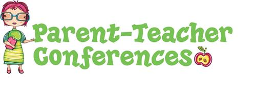Decorative image with teacher that states Parent-Teacher Conferences