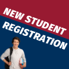 New student registration text with a male student with backpacks